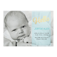 Script Hello Foil Gold Personalised Photo Boy Birth Announcement, 5