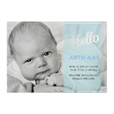 Script Hello Foil Silver Personalised Photo Boy Birth Announcement, 5