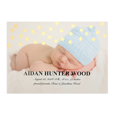 Star Foil Gold Personalised Photo Birth Announcement, 5