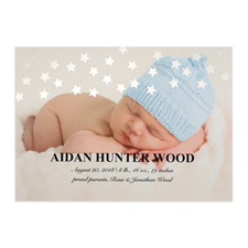 Star Foil Silver Personalised Photo Birth Announcement, 5