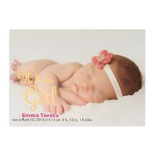 It's A Girl Foil Gold Personalised Photo Birth Announcement, 5