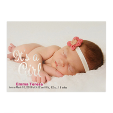 It's A Girl Foil Silver Personalised Photo Birth Announcement, 5