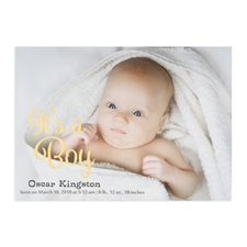 It's A Boy Foil Gold Personalised Photo Birth Announcement, 5