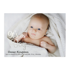 It's A Boy Foil Silver Personalised Photo Birth Announcement, 5