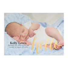 Foil Gold Hello Personalised Photo Birth Announcement, 5