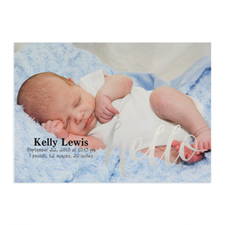 Foil Silver Hello Personalised Photo Birth Announcement, 5