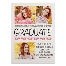 Onward Upward Pink Personalised Graduation Invitation Cards