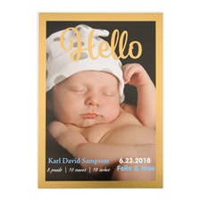 Hello Foil Gold Frame Personalised Photo Birth Announcement, 5
