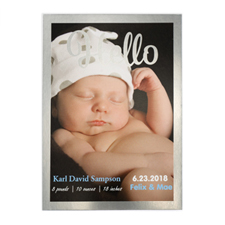 Hello Foil Silver Frame Personalised Photo Birth Announcement, 5