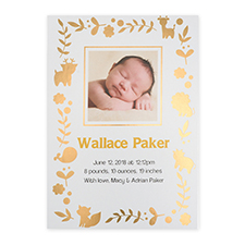 Foil Gold Animal Kingdom Personalised Photo Birth Announcement Cards