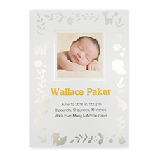 Foil Silver Animal Kingdom Personalised Photo Birth Announcement Cards