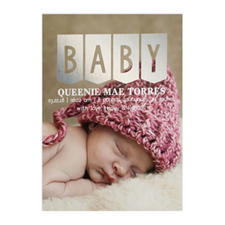 Baby Silver Foil Photo Birth Announcement Card, 5