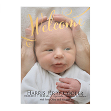Welcome Foil Gold Photo Birth Announcement, 5