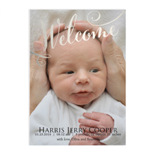 Welcome Foil Silver Photo Birth Announcement, 5