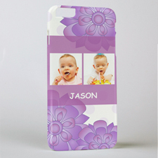 Purple Floral Personalised Photo iPhone 6+ Phone Case