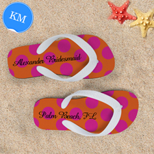 Mandarin Fuchsia Dot Personalised Flip Flops, Kids Medium