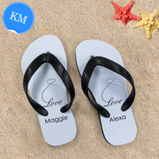 Infinity Love Personalised Flip Flops, Kid Medium