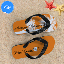 Mandarin Palm Tree Personalised Flip Flops, Kids Medium