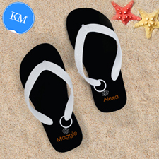 Black Wedding Ring Personalised Flip Flops White Straps, Kid Medium