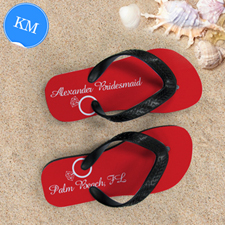 Red Wedding Ring Personalised Flip Flops, Kid Medium