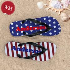 Stars & Stripes Personalised Flip Flops, Women Medium