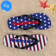 Stars & Stripes Personalised Flip Flops, Kids Medium