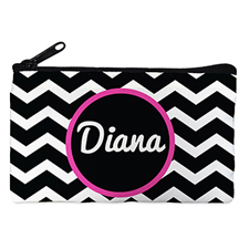 Black Chevron Personalised Small Cosmetic Bag 4