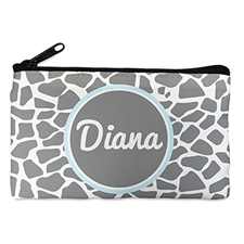 Grey Leopard Personalised Small Cosmetic Bag 4