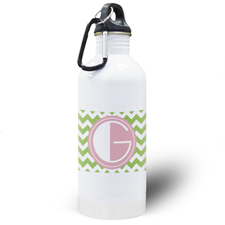 Lime Chevron Personalised Water Bottle