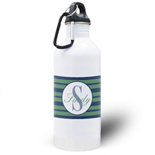 Navy Blue Stripe Personalised Water Bottle