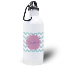 Aqua Chevron Personalised Water Bottle