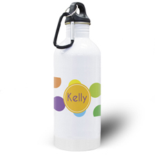 Colourful Dots Personalised Water Bottle