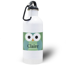 Green Owl Personalised Kids Water Bottle