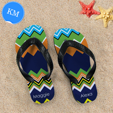 Rainbow Chevron Personalised Flip Flops ,Kid Medium