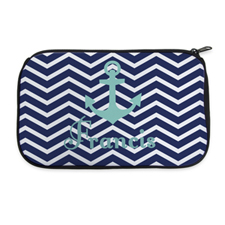 Navy Chevron Anchor Personalised Neoprene Cosmetic Bag