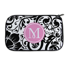 Black Floral Personalised Neoprene Cosmetic Bag