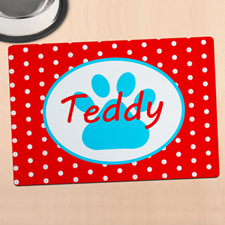 Red Polka Dot Personalised Paw Meal Mat