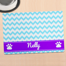 Sky Chevron Personalised Pet Meal Mat