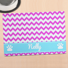 Hot Pink Chevron Personalised Pet Meal Mat