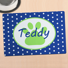 Navy Polka Dot Personalised Paw Meal Mat