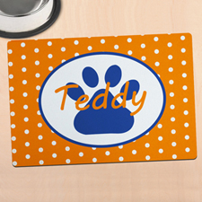 Orange Polka Dot Personalised Paw Meal Mat