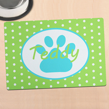 Lime Polka Dot Personalised Paw Meal Mat