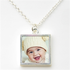 Personalised Silver Plated Photo Necklace Pendant