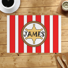 Red Stripe Personalised Placemat