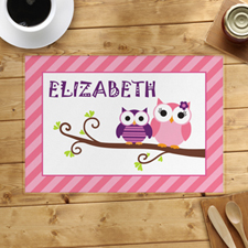 Pink Owl Personalised Placemat