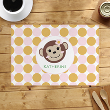 Monkey Girl Personalised Placemat