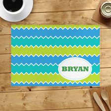 Lime Blue Peacock Personalised Placemat
