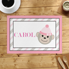 Pink Monkey Personalised Placemat