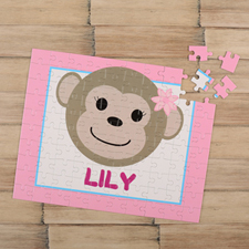 Monkey Girl Personalised Kids Puzzle