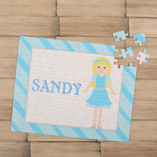 Girl Gold Hair Personalised Kids Puzzle